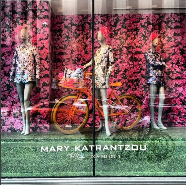 A paradise of flowers, embroidery, lace, print and a bicycle at Hudson's Bay in Toronto.