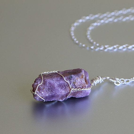 Raw Ruby Necklace July Birthstone Ruby Necklace by EliisDesign