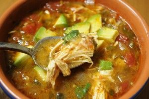 Whole30 Chicken Tortilla Soup NO TORTILLAS! see paleocomfortfoods.com  Ingredients  3 pounds chicken breasts  3 tablespoons of oil  2-3 teaspoons of mix of ground cumin, chili powder, garlic powder  1-2 poblano peppers, diced  2 quarts (8 cups) chicken stock  1 28 ounce can of tomatoes  Juice of 2 limes  1 cup cilantro, chopped  avocado for garnish