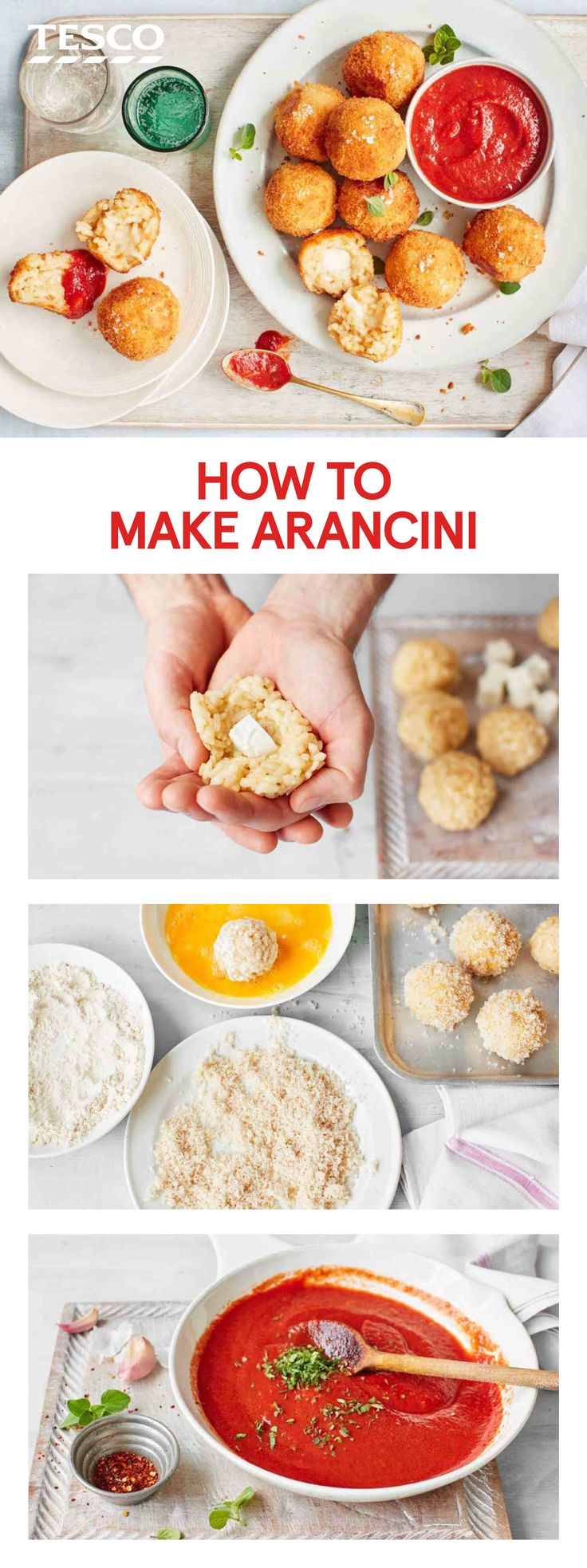 Italian recipes don't get much better than these arancini. A street food star, these sticky balls of risotto are filled with gooey mozzarella, fried until golden and served with a tomato sauce. | Tesco