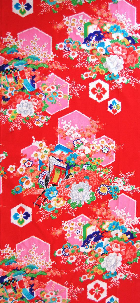 Vintage Japanese Kimono Fabric - Candy Pink Hexagons