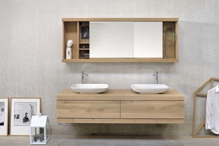 Meuble sous-vasque double en bois massif avec tiroirs OAK CADENCE | Meuble sous-vasque double - Ethnicraft