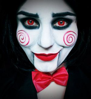 Wanna play a game..?  Jigsaw makeup made with @mehronmakeup paradise paints in white, black and red; white transluscent power; @makeupgeekcosmetics eyeshadow in Corrupt; crazy lenses in Red Devil; wig from eBay.