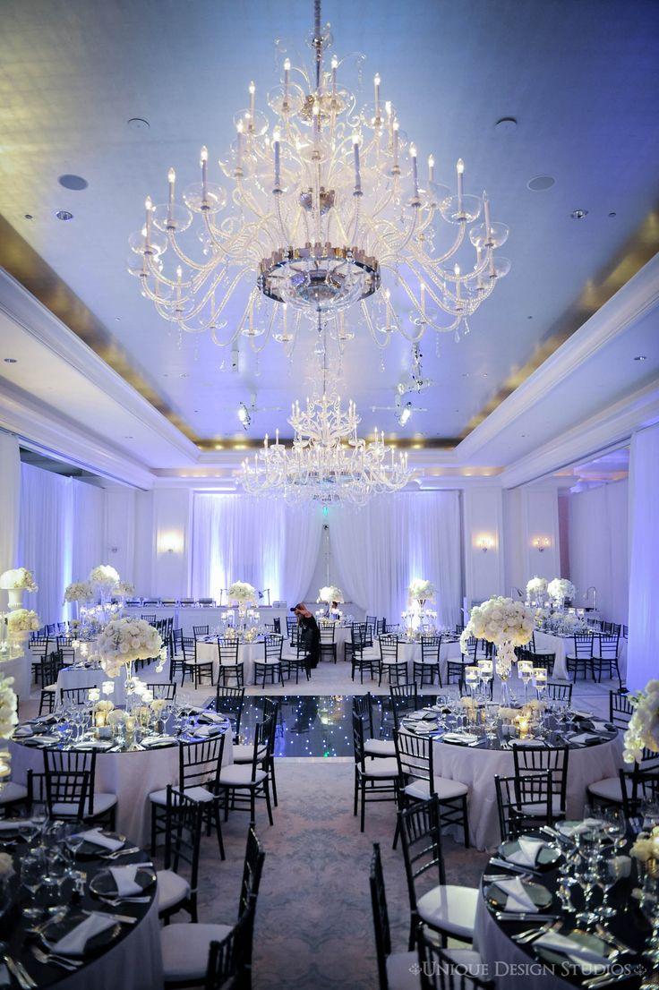 Wedding chairs black and white - Crisp White Linens Black Plexi Table Tops Black Chiavari Chairs White Draping And