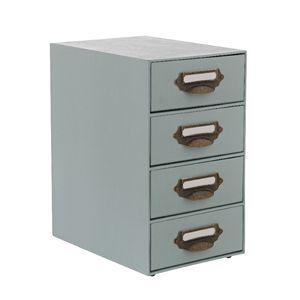 4 High Storage Drawers Teal