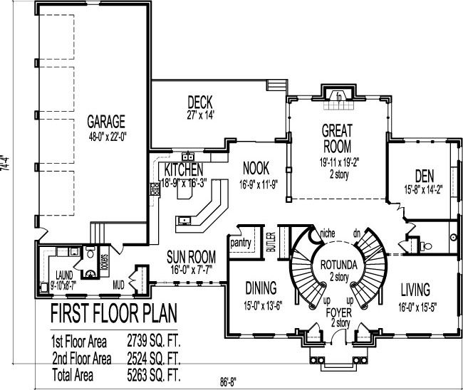 Colonial home plans circular stair 5000 sf 2 story 4 br 5 for One story floor plans with basement