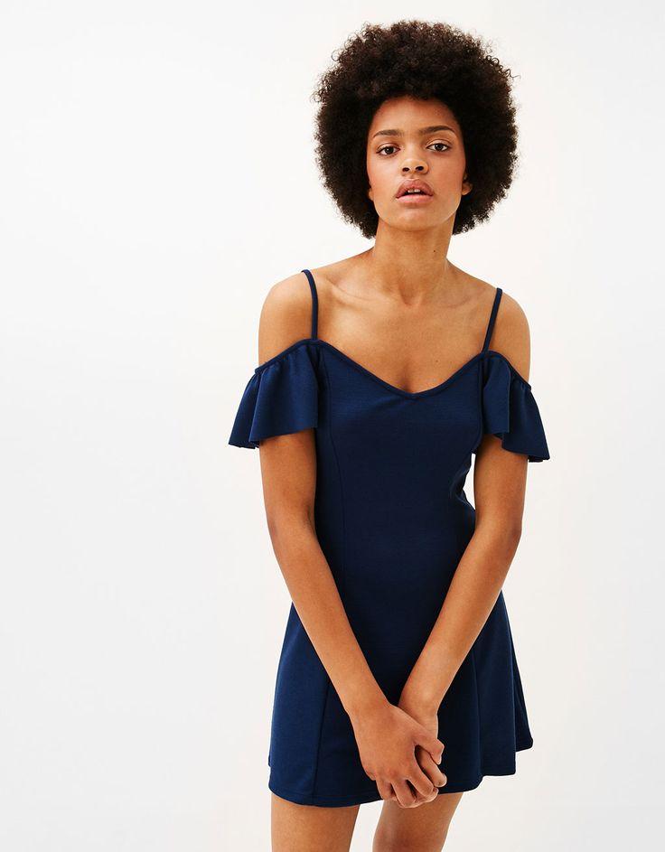 Short A-line dress with cap sleeves - Dresses - Bershka Israel