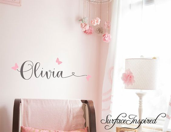 Wall Decals Personalized Names Nursery Wall Decal Kids Wall Decal Wall Decal Quote Wall Decals For Girls or Boys Olivia Heart Butterflies