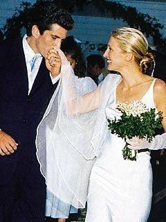 JFK Jr and Carolyn Bessette's wedding day. Less than three years later they were both dead, along with her sister Lauren, in a fateful plane crash near Martha's Vineyard.