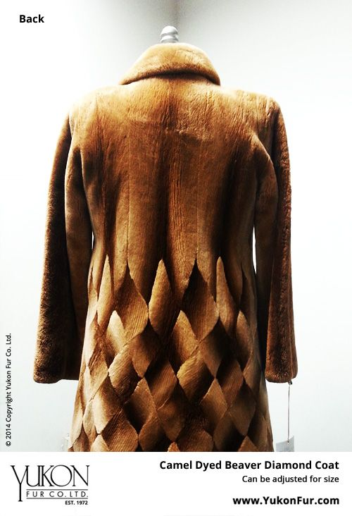 Camel Dyed Beaver Diamond Coat  $8,500.00  Size: 10 Lining: B  Can be adjusted for size  http://www.yukonfur.com/wp/product/1999-camel-dyed-beaver-diamond-coat  For details call +01.416.598.3501 or email Chris, chris@yukonfur.com