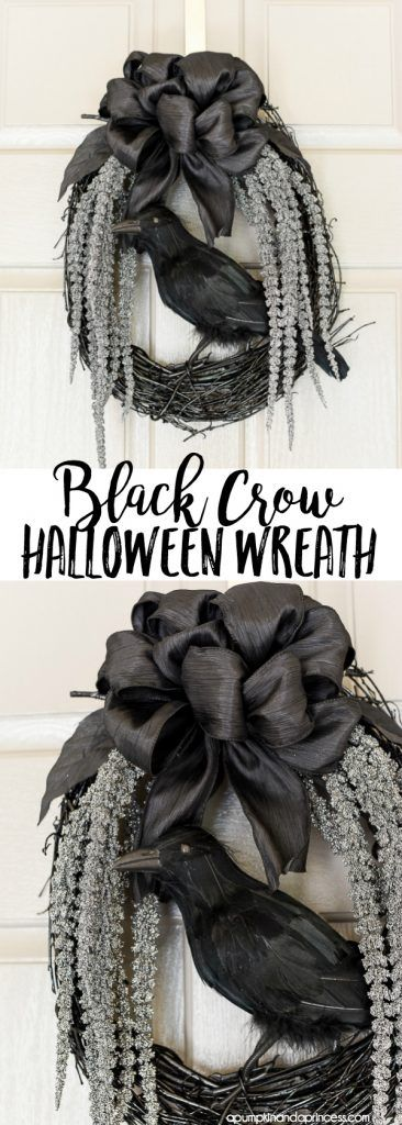 DIY spooky glam Halloween wreath with glittery stems draping down and a black crow to welcome your guests. MichaelsMakers A Pumpkin And A Princess