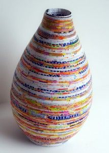 vase from recycled magazine paper