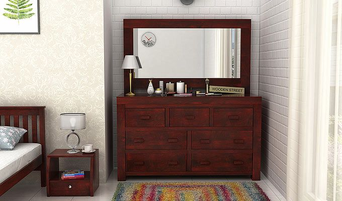 Buy Laura Dressing Table with Mahogany Finish online in India at great value prices from Wooden Street. Here is the terrific collection of wooden storage furniture that are available online in different sizes and styles to full fill all your requirements.  Visit : https://www.woodenstreet.com/storage-furniture