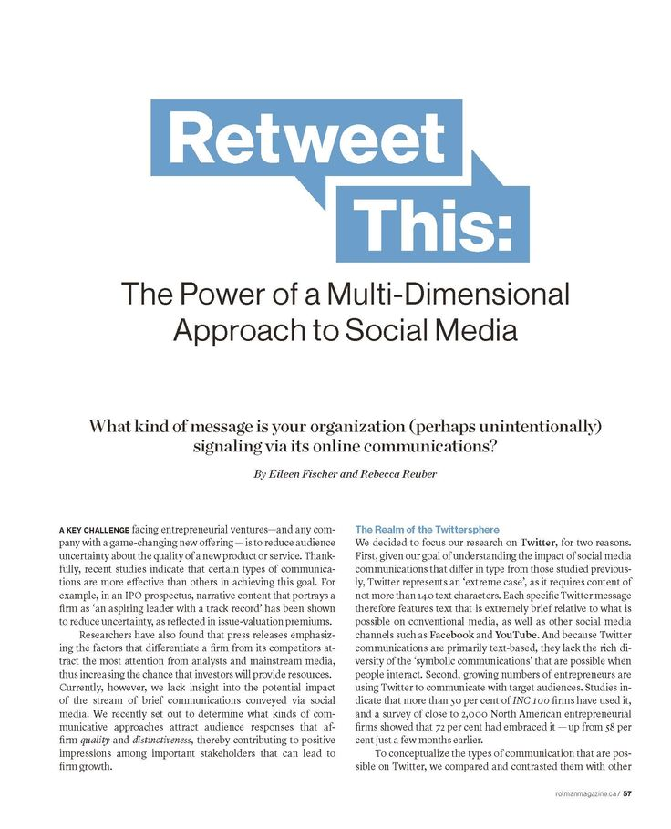 """""""Retweet This: The Power of a Multi-Dimensional Approach to Social Media"""" Rotman Management, Fall 2015"""