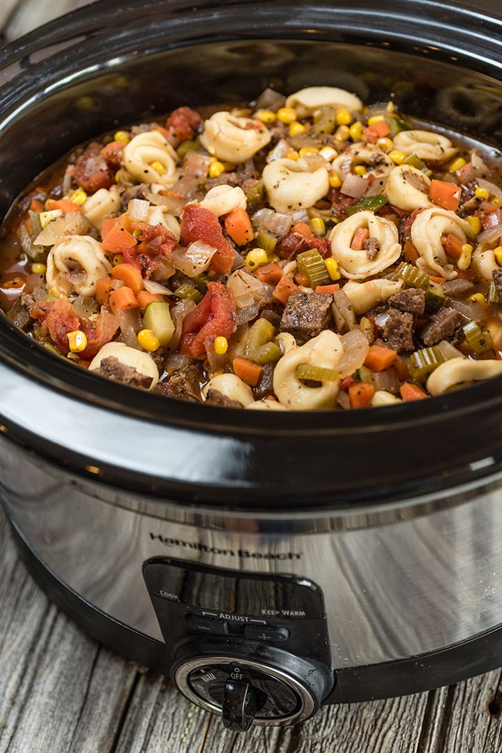 Slow Cooker Sausage and Tortellini Stew