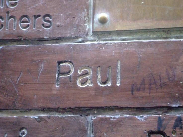 Paul McCartney's Brick on the Cavern Wall of Fame in Mathew Street, Liverpool City Centre...  http://paulmccartneyonline.blogspot.com