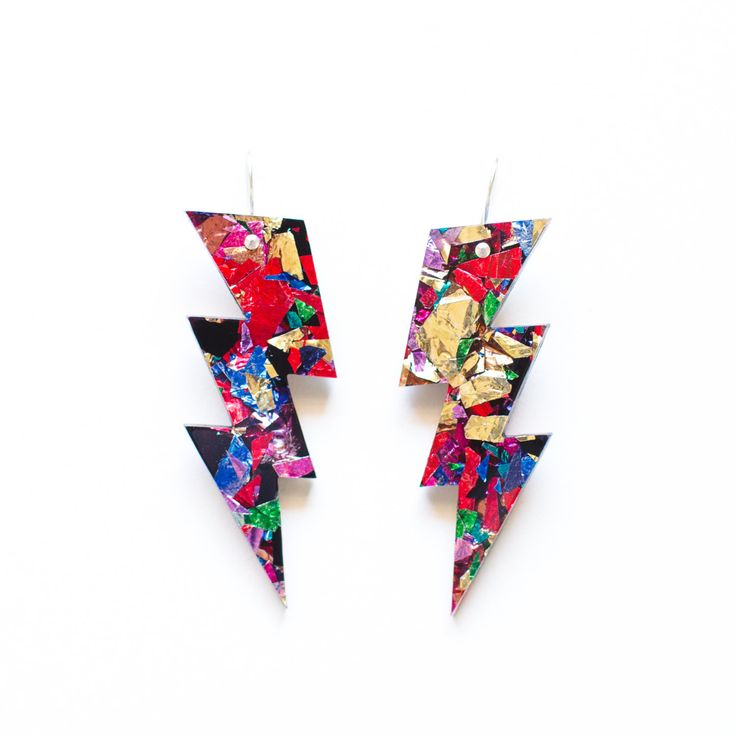 Fireworks Bolt Drops Earrings - Laser Cut Glitter Acrylic Lightning Earrings - Multi Coloured Confetti Glitter
