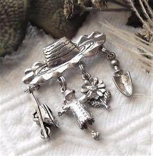 Vintage .925 Sterling Silver Hat Pin/Brooch w/Charms