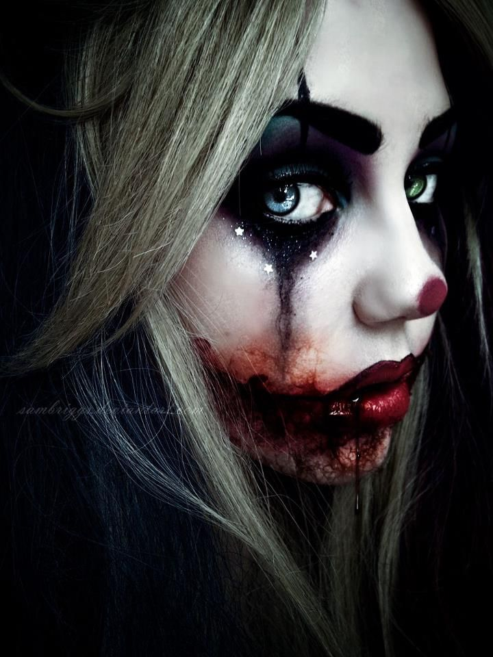 costume makeup- Reminds me of Harley Quinn