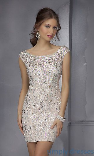 Short Beaded Dress with Open Back at http://www.luulla.com/product/472583/tight-homecoming-dresses-backless-homecoming-dresses-sexy-homecoming-dresses-short-sleeve-homecom
