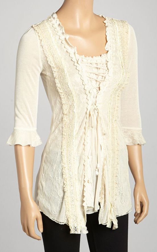 Caramel Lace-Trim Silk-Blend Tunic