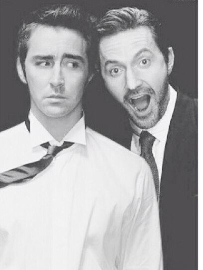 "Lee Pace and Richard Armitage <--- cuteness <<< Lee is like ""You stupid Dwarf. I love you."""