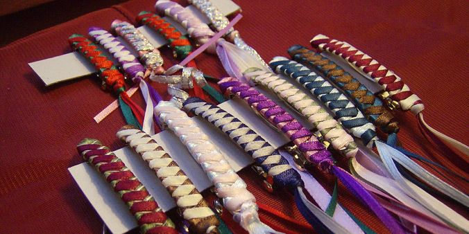 If you were a crafty girl of the early 80's, you might have produced some ribbon barrettes. Maybe they were embellished with beads at the bottom. If you had them, I'm betting you wore them with pride.
