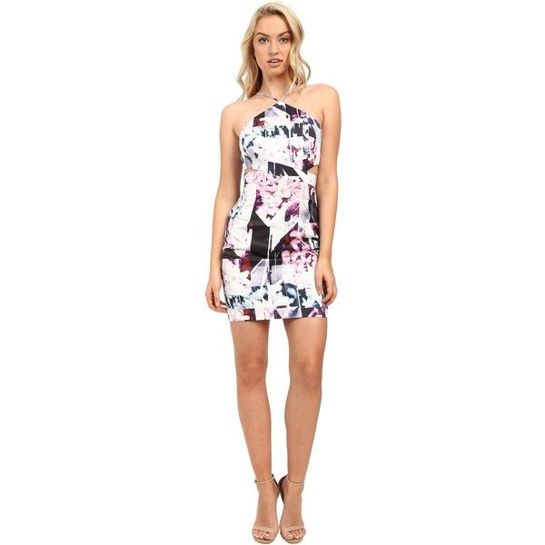 Aidan Mattox Abstract Print Stretch Halter Dress with Side Cut Outs... ($147) ❤ liked on Polyvore featuring dresses, pink, white halter top, white cut out dress, white dress, side cutout dresses and cut out dresses