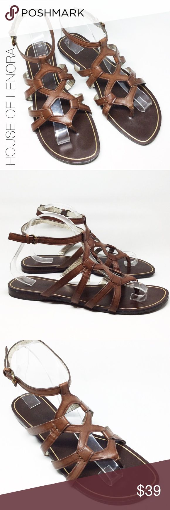 BANANA REPUBLIC Gladiator Sandal Very cute brown leather gladiator sandal with circle vamp and ankle strap. Condition: New, these shoes look to have never been worn. Banana Republic Shoes Sandals