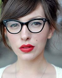 ray ban glasses frames cat eye  love the black frames with red lips and cat eye makeup. style! eyeglasses
