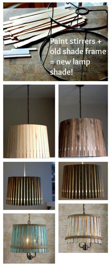 Creatieve DIY lampenkapjes van verfhoutjes. Erg leuk en lowbudget ...