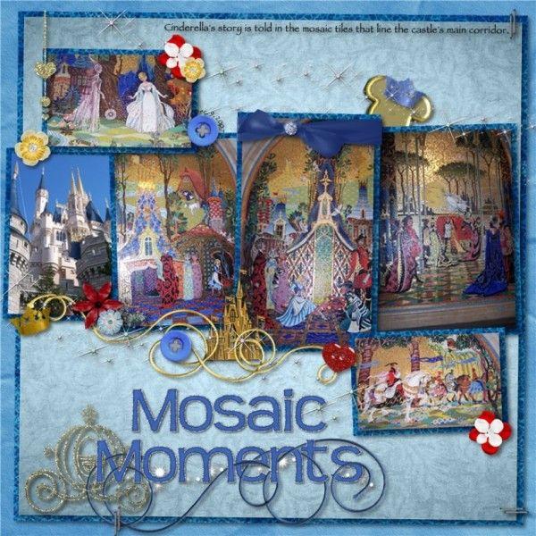 Cinderella 39 s castle mosaic scrapbooking pinterest for Cinderella castle mural