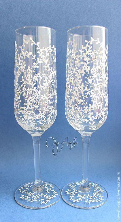 """Купить Свадебные бокалы """"Нежность"""". Роспись по стеклу - белый, свадебные бокалы, бокалы свадебные"""