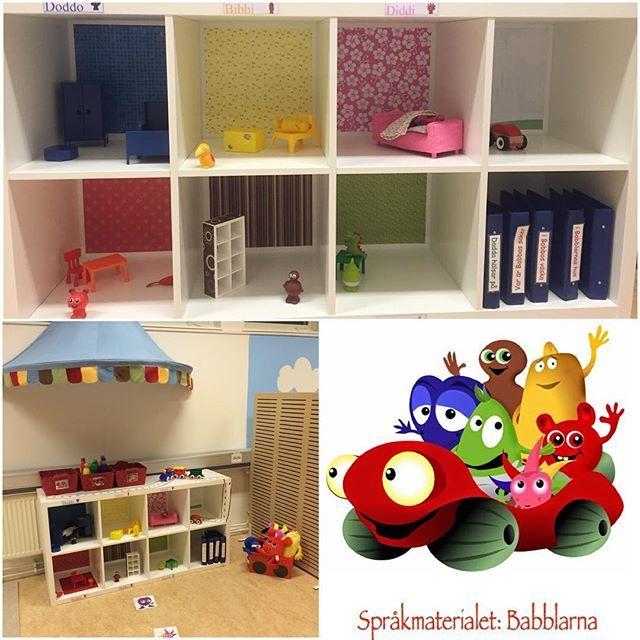 Babblarna är ett språkmaterial som på ett lustfyllt sätt utvecklar barnens språk och språkljud genom lek. Vi har byggt upp ett Babblarrum där vi försökt skapa många tillfällen att träna på bla. språkljuden, här är ett: Babblarnas hus, barnen leker samtidigt som de jobbar med språk, begrepp, sortering, färger, mönster, lägesord osv.. #förskola#lpfö#babblarna#bobbo#bibbi#babba#språkmaterial#språkljud#språkutveckling#matematik