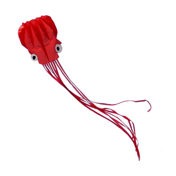 Long Tail Red Software Made Octopus Kite With Line