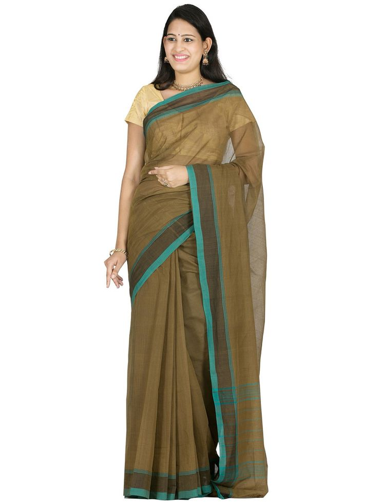 Olive Venkatgiri Cotton Handloom Plain Sari