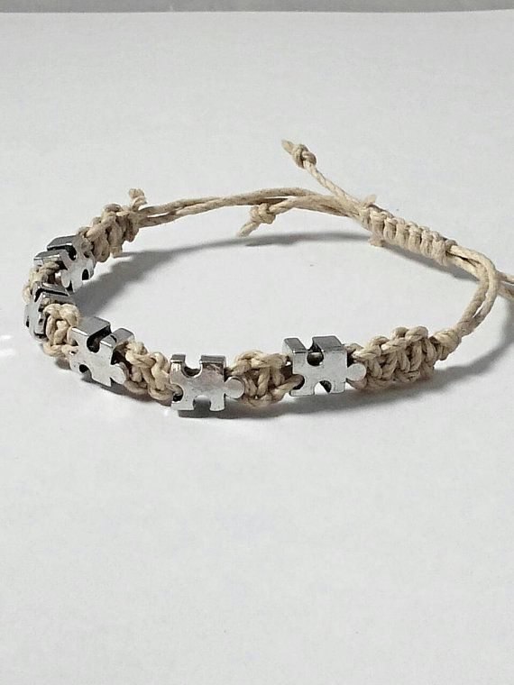 Autism awareness European puzzle piece beaded adjustable hemp bracelet. https://www.etsy.com/listing/239274561/autism-awareness-bracelet-hemp-bracelet
