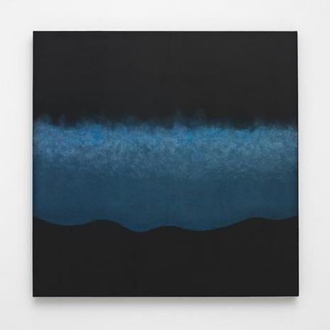 SHIRAZEH HOUSHIARY Threshold, 2009 blue pencil with black and white aquacryl on canvas 27.56 x 27.56 inches 70 x 70 cm