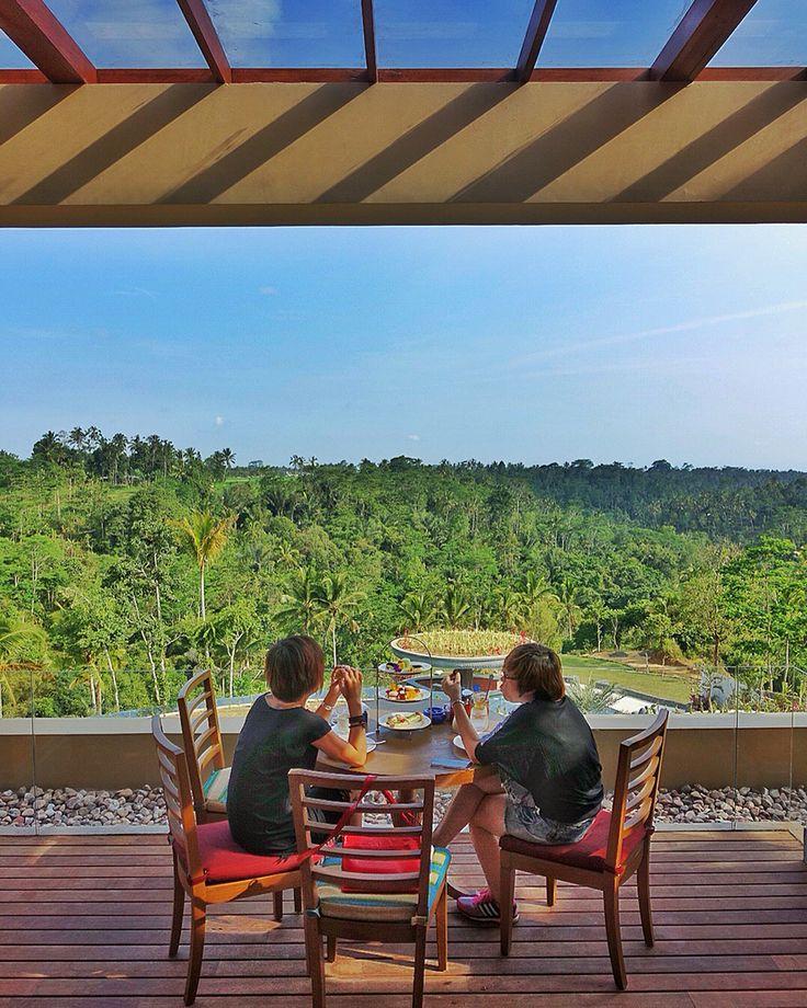 High tea with this view at Puhu Restaurant of Padma Ubud. #MilesHumphreysArchitect