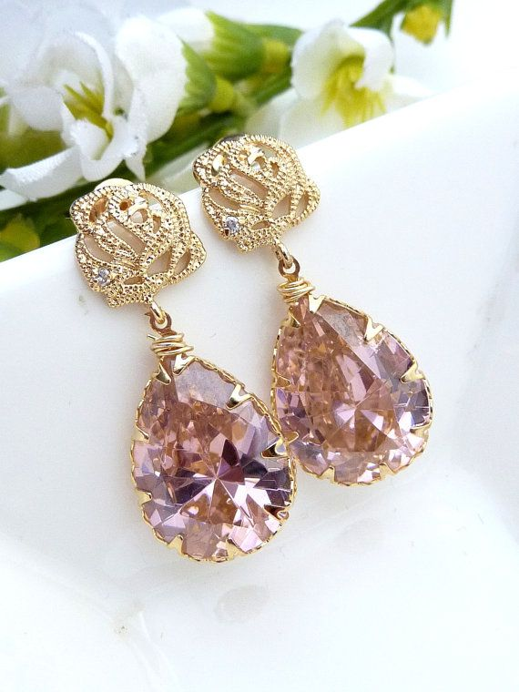 Light Rose Pink Large Peardrop CZ with Gold by JCBridalJewelry, $32.00