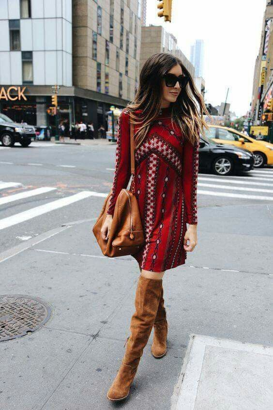 Bohemian red dress, brown over the knee heel boots and boho brown bag