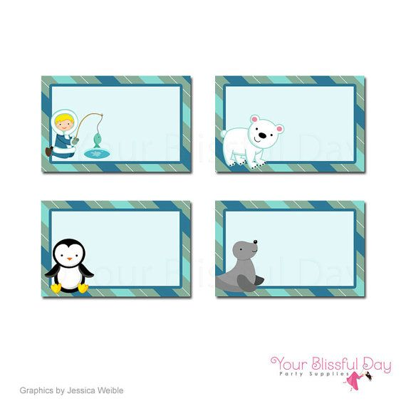 PRINTABLE Arctic Boy Party Label Tents by yourblissfulday on Etsy