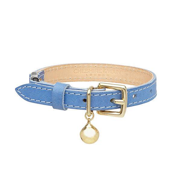 BLUE Leather Cat Collar with Breakaway Buckle door CheshireandWain