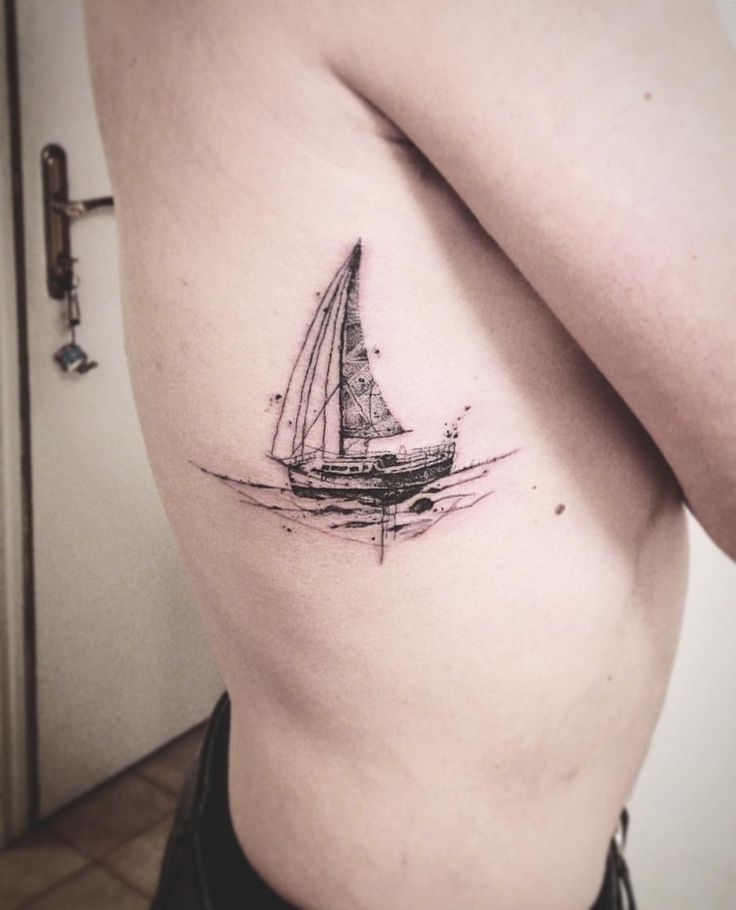 Boat tattoo, delicate tattoo, thin lines, sailing tattoo
