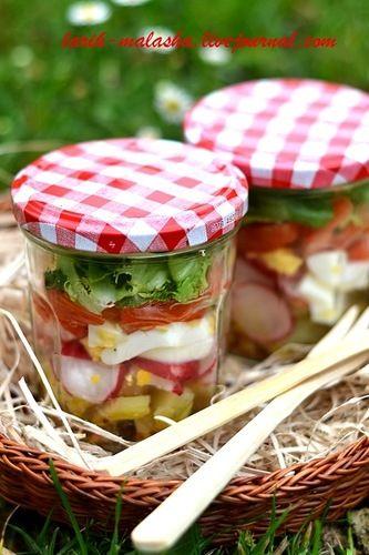 Все на пикник: овощной салат в банке. Шоколадный фондан