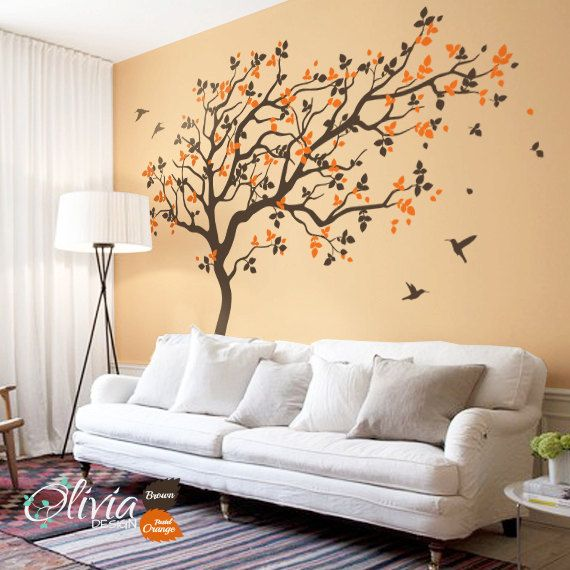 Large Tree Wall Decals Nursery Wall Decor Wall Mural Stickers Tree And Birds Part 74