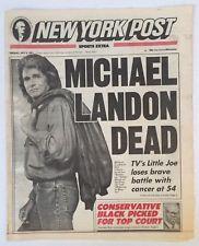 7-2-1991 New York Post Newspaper TV Actor Michael Landon Dead at 54