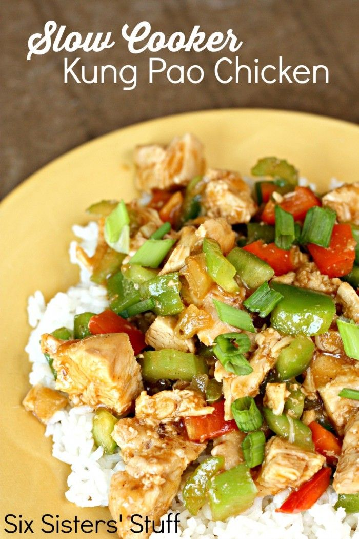 Slow Cooker Kung Pao Chicken recipe on SixSistersStuff.com - such a simple dish to throw together!