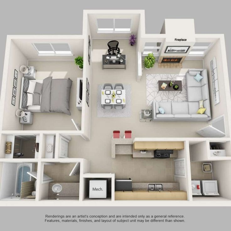 1 Bedroom Apartment Floor Plans 3d