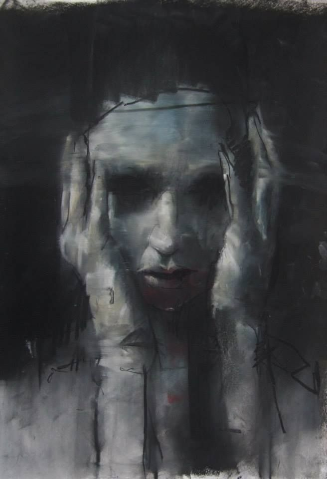 "Artist Guy Denning ""Sky's still blue"" conte, pastel and chalk on paper 30 x 40 cm 3rd July 2013"